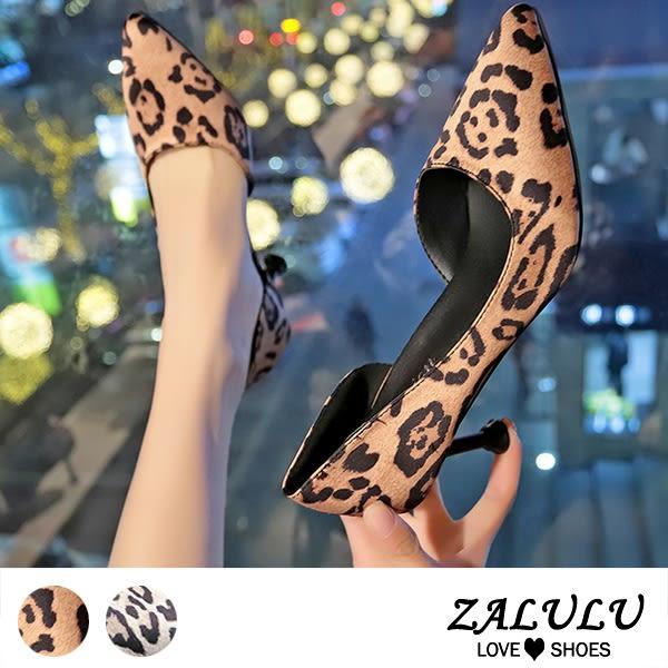 ZALULU愛鞋館 8BE215 豹紋控!復古風高跟鞋-黃/米-35-42