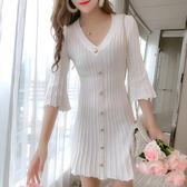 VK旗艦店 韓國風復古氣質針織V領喇叭長袖洋裝