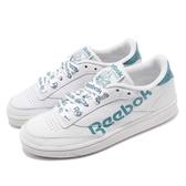 Reebok 休閒鞋 Club C 85 白 藍 大LOGO設計 網球鞋 皮革鞋面 女鞋 運動鞋【PUMP306】 DV3832