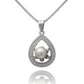 項鍊 925純銀 珍珠吊墜-水滴鑲鑽生日母親節禮物女飾品73dh36【時尚巴黎】