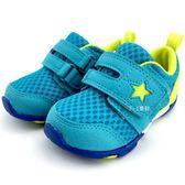 《7+1童鞋》小童 日本月星   MOONSTAR 魔鬼氈  星星 透氣學步鞋 C434  綠色