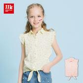 JJLKIDS 女童 田園清新碎花小飛袖 短袖上衣(2色)
