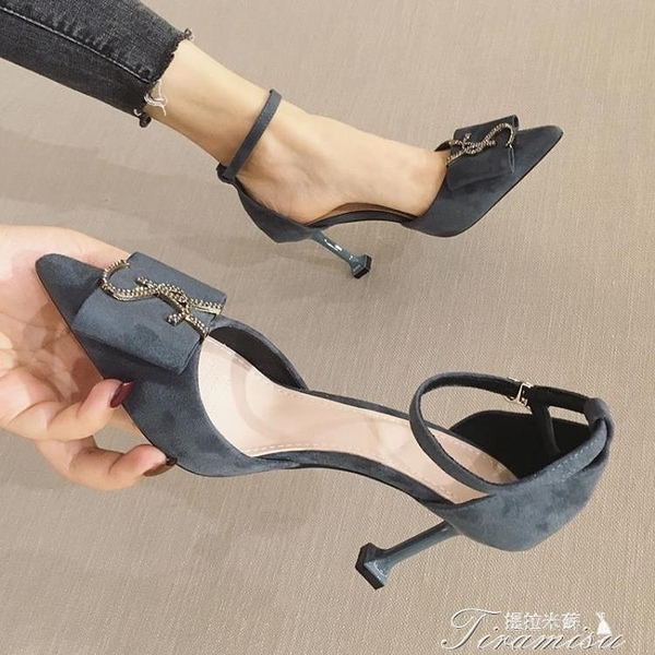 高跟鞋-高跟鞋新款百搭尖頭性感細跟單鞋法式少女黑色小清新 快速出貨