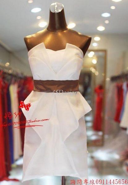 (45 Design)  客製化   美伴娘禮服新款短款禮服婚紗禮服伴娘小禮服舞台演出服晚禮服短
