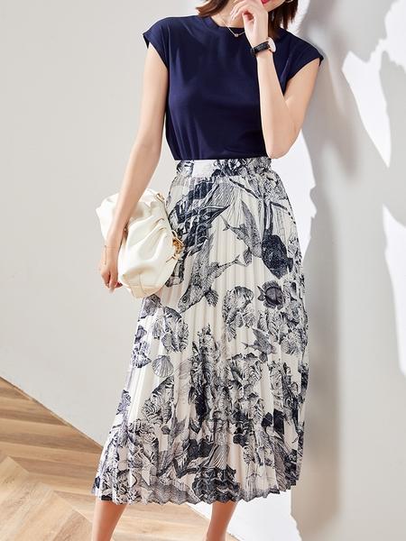 (現貨+預購 RN-girls)-精品氣質棉T上衣+水墨印花百褶裙兩件式短袖套裝洋裝