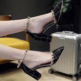 高跟鞋女春季單鞋一字扣涼鞋女尖頭性感粗跟夏季百搭顯瘦 韓慕精品
