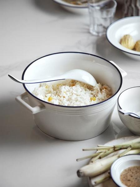 家用大號陶瓷釉下彩雙耳湯碗北歐風泡面碗螺螄粉沙拉碗湯盆大湯碗 果果輕時尚