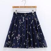 夏季百褶雪紡半身裙防走光短裙子碎花裙