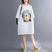 中大尺碼洋裝 洋氣大碼女裝T恤裙女夏季胖mm寬鬆印花遮肉顯瘦百搭中長款連身裙