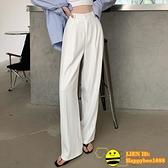 白色垂感西裝褲女夏季薄款寬鬆寬版高腰雪紡休閒直筒顯瘦拖地褲【happybee】