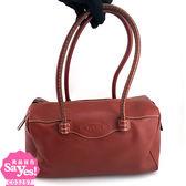 【奢華時尚】TODS栗子紅色牛皮肩背波士頓包(八成新)#23206