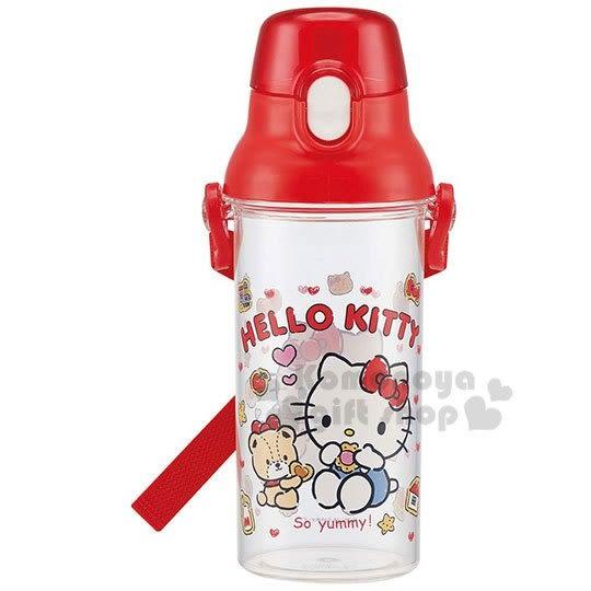 〔小禮堂〕Hello Kitty 日製透明直飲水壺附背帶《紅.吃餅乾》480ml.水瓶.兒童水壺 4973307-44578