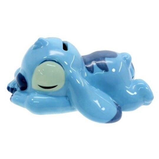 〔小禮堂〕迪士尼 史迪奇 迷你趴姿造型陶瓷存錢筒《藍》擺飾.撲滿.儲金筒 4942423-25569