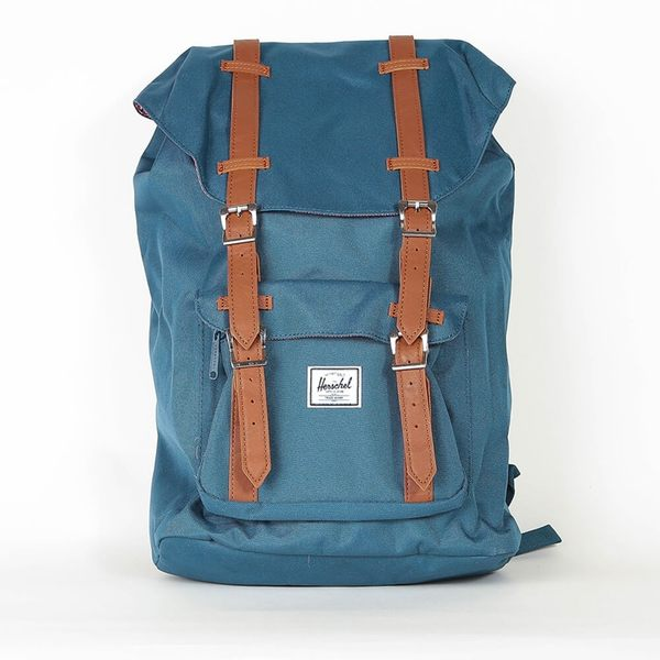 Hsin 75折 現貨 Herschel Little America 中型 印地安 藍色 Teal 筆電夾層 皮革帶子 旅行 後背包