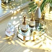 北歐化妝品收納托盤玻璃桌面梳妝臺香水盒口紅護膚家用網紅心形盤