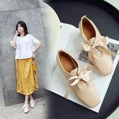 丁果、大尺碼女鞋34-45►2019春韓版甜美風蝴蝶結造型方頭中跟鞋子*3色