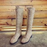 長靴新品秋冬粗跟馬丁靴女正韓復古方頭絨面休閒百搭高筒靴系帶過膝靴