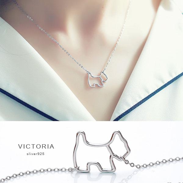 S925純銀 韓星激似款狗狗項鍊-維多利亞180102