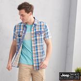 【JEEP】多彩小格紋短袖襯衫(橘藍)