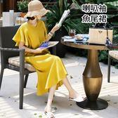 漂亮小媽咪 韓系洋裝 【D3322】 V領 純色 喇叭袖 長裙 荷葉裙 棉麻 短袖 魚尾洋裝 孕婦裝