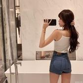 牛仔褲女2020春季新款時尚顯瘦高腰直筒熱褲修身百搭彈力休閒短褲 雙十一全館免運