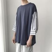 夏季韓版短袖t恤薄款男士寬鬆七分袖