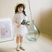 秋季女童甜美波點連身裙網紗裙長袖公主裙
