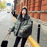 羽絨夾克-白鴨絨-連帽毛領寬鬆短版女外套3色73zc9[時尚巴黎]