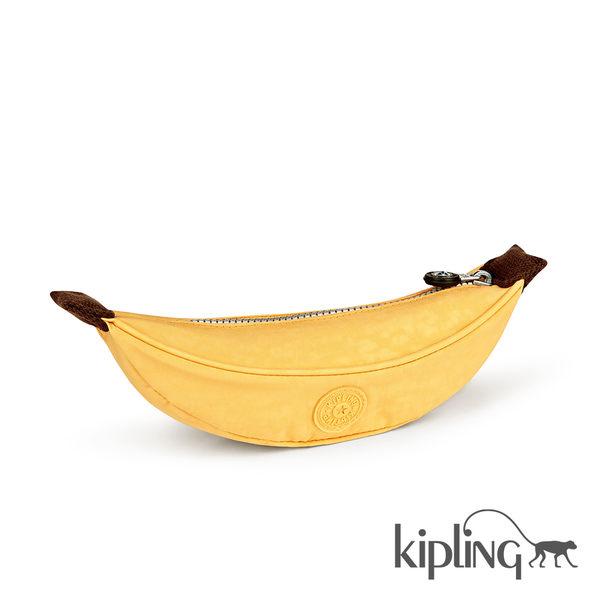 Kipling 香蕉黃素面筆袋-小