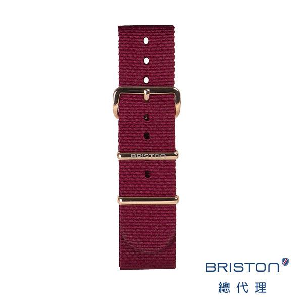 【官方旗艦店】 BRISTON NATO 帆布可替換錶帶NS20-PVDRG-BDX 紅色 玫瑰金扣