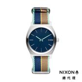 NIXON TIME TELLER 極簡小錶款 帆布錶帶 藍X褐條紋 潮人裝備 潮人態度 禮物首選
