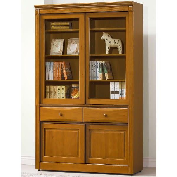 書櫃 書櫥 AT-538-4 查克斯樟木4尺推門中抽書櫃【大眾家居舘】