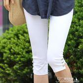 夏天女士七分褲大碼薄款外穿顯瘦夏季中腰7分褲彈力胖mm中褲子潮  提拉米蘇