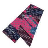 HERMES 愛馬仕 桃紫藍色水玉馬具圖騰絲質長型披巾 圍巾 Maxi Twilly Clic Clac a Pois