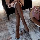 過膝長靴女平底粗跟小辣椒彈力靴高跟中跟高筒長靴子   艾維朵