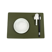 質感皮革長方餐墊-墨綠色