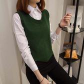 毛衣馬甲女韓版寬鬆短款無袖背心學院風套頭針織衫 三角衣櫃