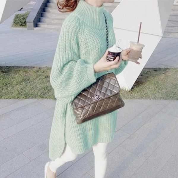 漂亮小媽咪 純色毛衣 【C6442】 寬鬆 純色 鬆高領 套頭 毛衣 針織 長版針織裙 孕婦裝