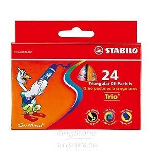 trio系列3歲後兒童用油性粉蠟筆組24支裝(1盒24色)紙盒包裝