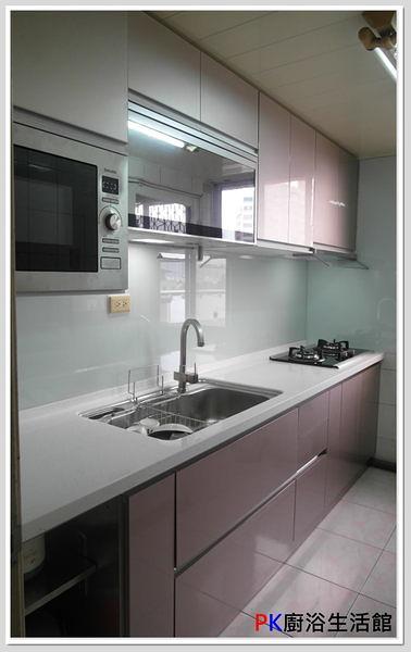 ❤PK廚浴生活館 實體店面❤高雄 廚房歐化系統櫥具 一字型240公分上下櫃流理台 白鐵桶身 水晶門板