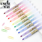 無印風螢光筆【H1300】螢光筆 彩色筆 粗細兩用 造型筆 文具用品 辦公文具 色鉛筆 重點筆記