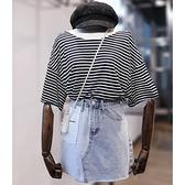 套裝 兩件式 大尺碼女裝胖妹妹遮肚套裝胖mm條紋針織衫T恤高腰白帶牛仔半身裙