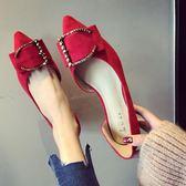 婚鞋女女鞋紅色細跟單鞋低跟3CM高跟鞋小跟鞋尖頭大碼鞋優樂居生活館
