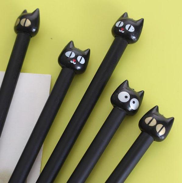 [拉拉百貨]韩国 文具 中性筆 大眼猫 黑色 0.38 黑貓公仔中性筆
