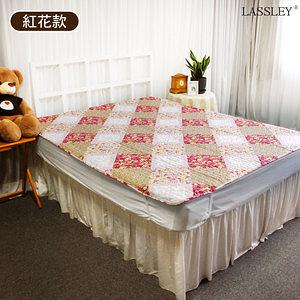【LASSLEY】日式拼布床墊|保潔墊-單人尺寸105X186cm(和紅花款