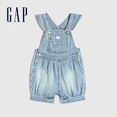 Gap嬰兒 可愛小飛袖牛仔連身衣 669614-淺色水洗