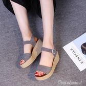 厚底涼鞋 新款女鞋子簡約涼鞋露趾坡跟內增高鬆糕底新款厚底一字帶 中秋節最低價