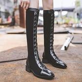 膝上靴 戈美妮 2020秋冬新款粗跟不過膝長靴女機車高筒靴子系帶騎士靴