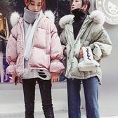 梨卡 - 甜美閨蜜短款連帽防風加厚保暖雪地鋪棉仿羽絨大毛領大衣風衣外套/2色AR088