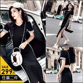 克妹Ke-Mei【AT46852】歐美單! 性感單槓撞色美背摟空開叉長洋裝